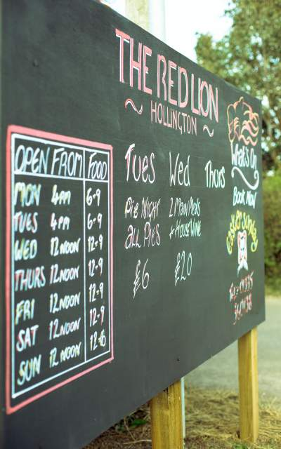 Red Lion Opening Time Board